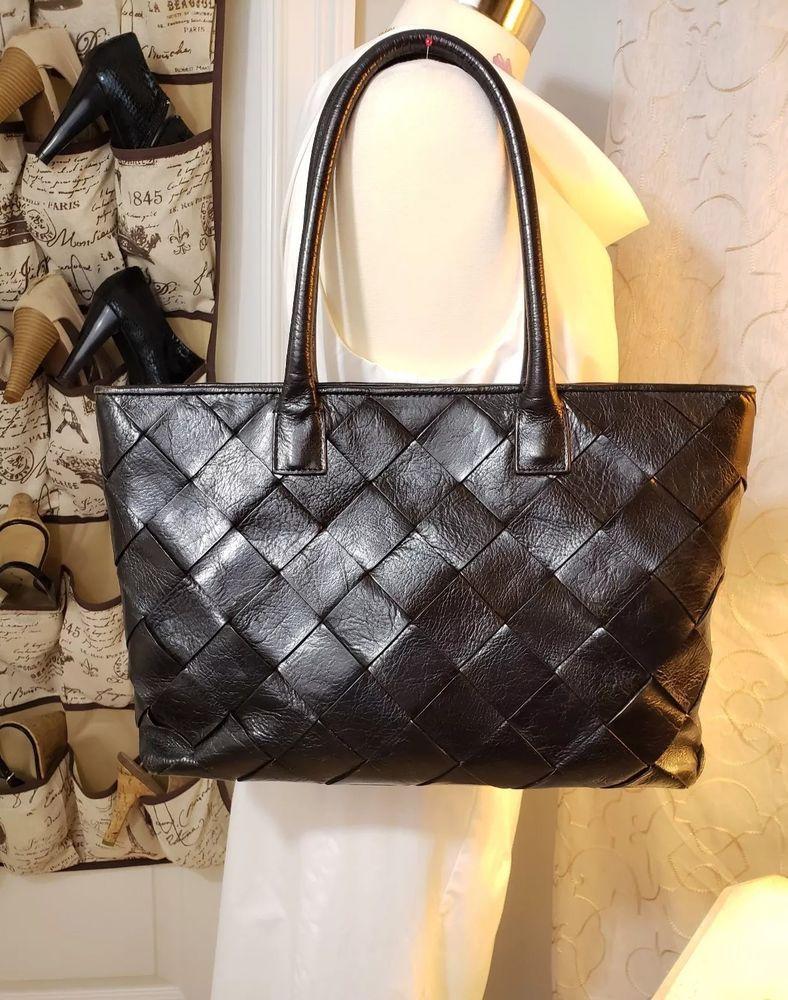 Wilsons Black Leather Pelle Studio Woven Satchel Tote Med