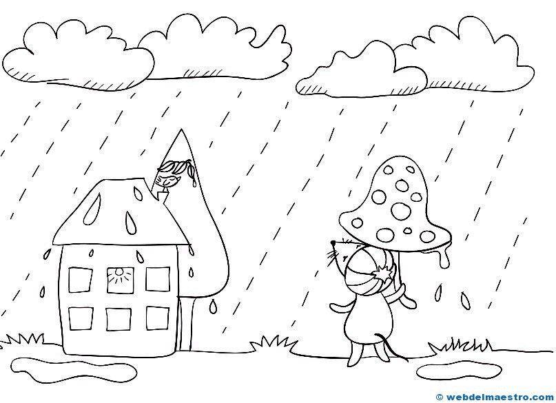 El Tiempo Lluvia Dibujos Para Colorear Dibujos Colorear Ninos Dibujos