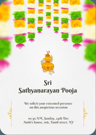 Sri Satyanarayana Pooja Online Invitation Card Flower Invitation Card Invitation Card Design