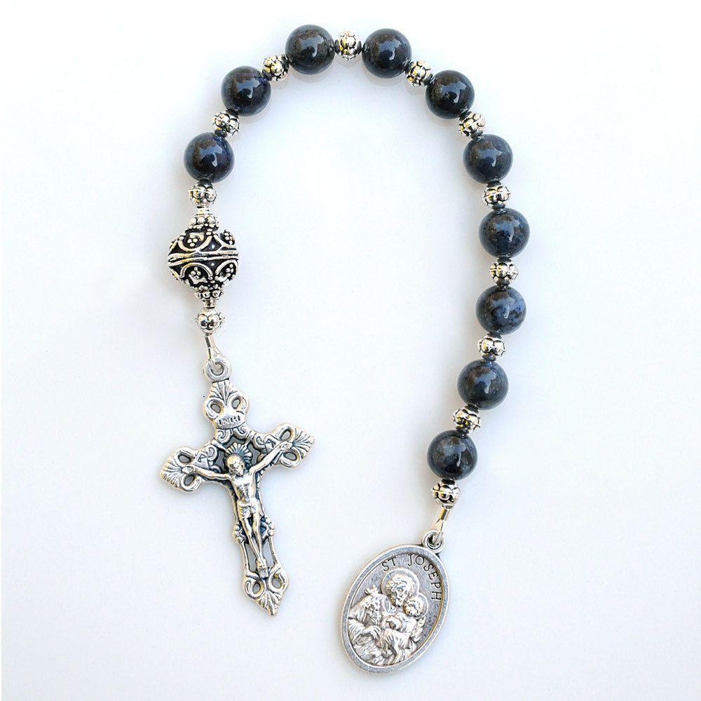 confirmation communion gift for boys blue gemstone rosary