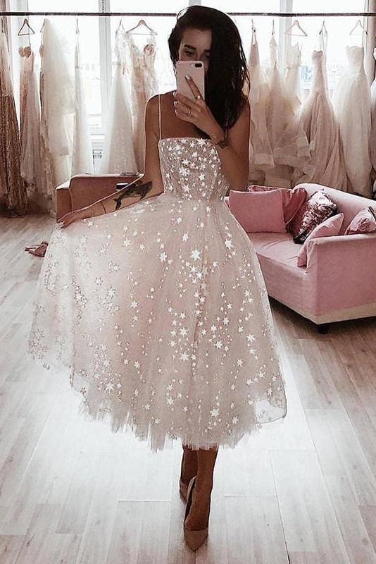A Line Spaghetti Strap Tea Length Pearl Pink Tulle Prom Homecoming Dress With Beads PW760 #fashiondresses