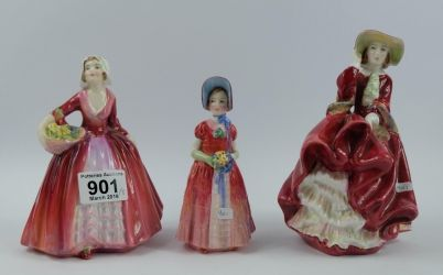 Collectors & General Sale – Lot 901 – Royal Doulton lady figures Janet HN1537, Dianna HN1988 and Top O' the Hill (seconds) HN1937 (3)
