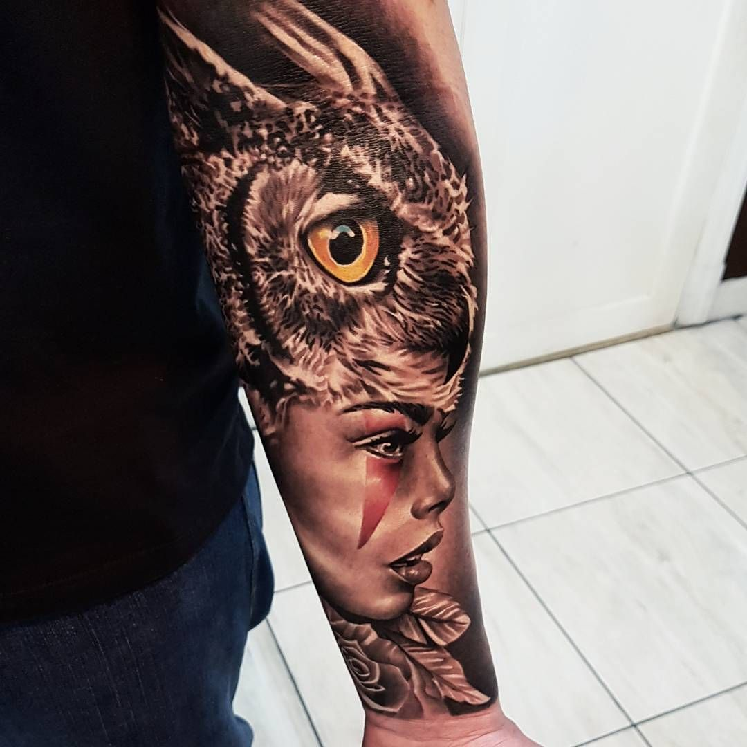 82cb7373bb9c0 Black and grey tattoo of Wild Owl Girl done by tattoo artist by Fabricio  Victor