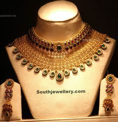 Heavy Bridal Necklace With Rubies And Emeralds Latest Jewellery Designs