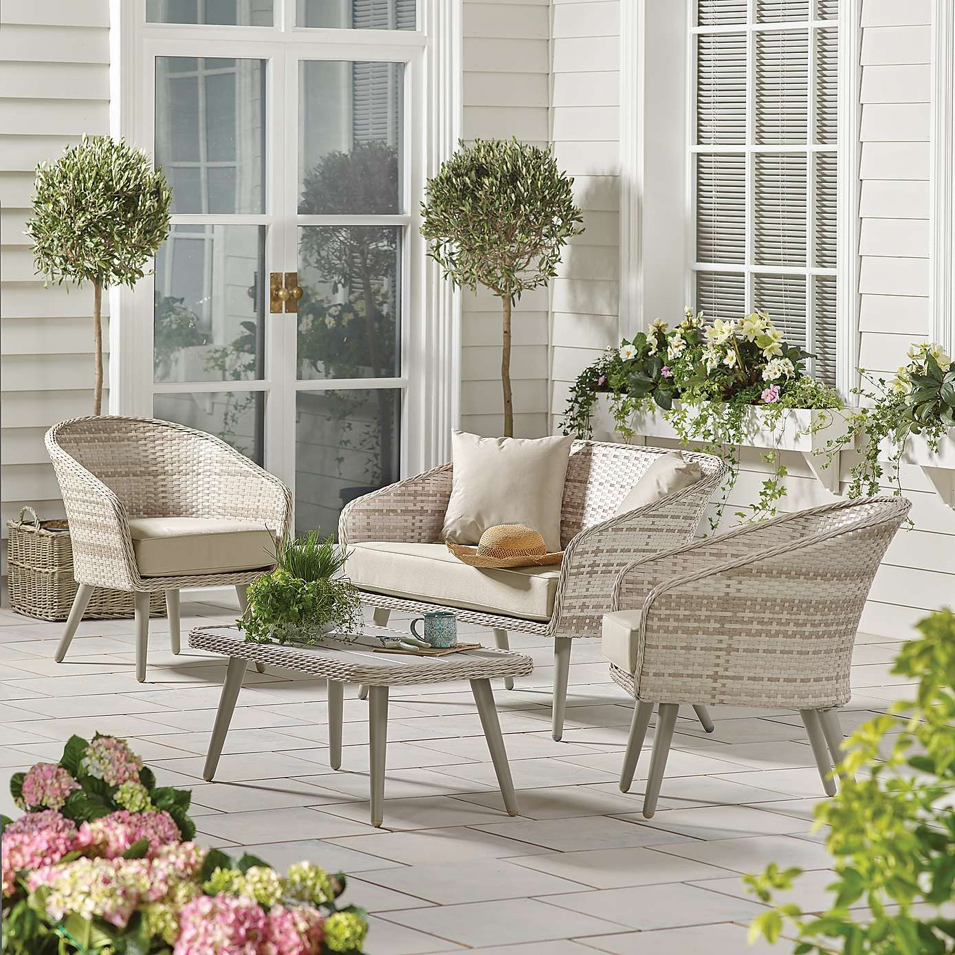 Stockholm Natural Rattan 4 Seat Conversation Set Garden