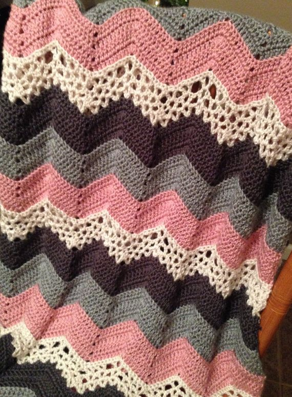 Crochet Pattern For Lacy Ripple Afghan Blanket Or Throw Sewing