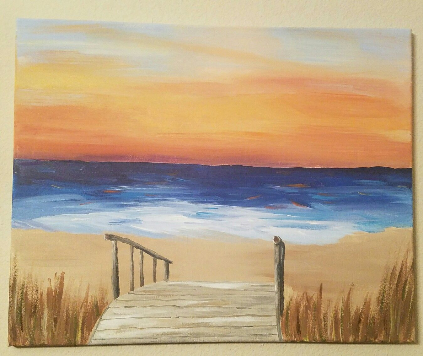 Easy beach painting images galleries for Acrylic mural paint