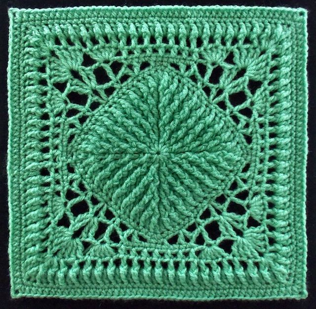 Ribs and Lace Afghan Block pattern by Joyce D. Lewis | Häkeln ...