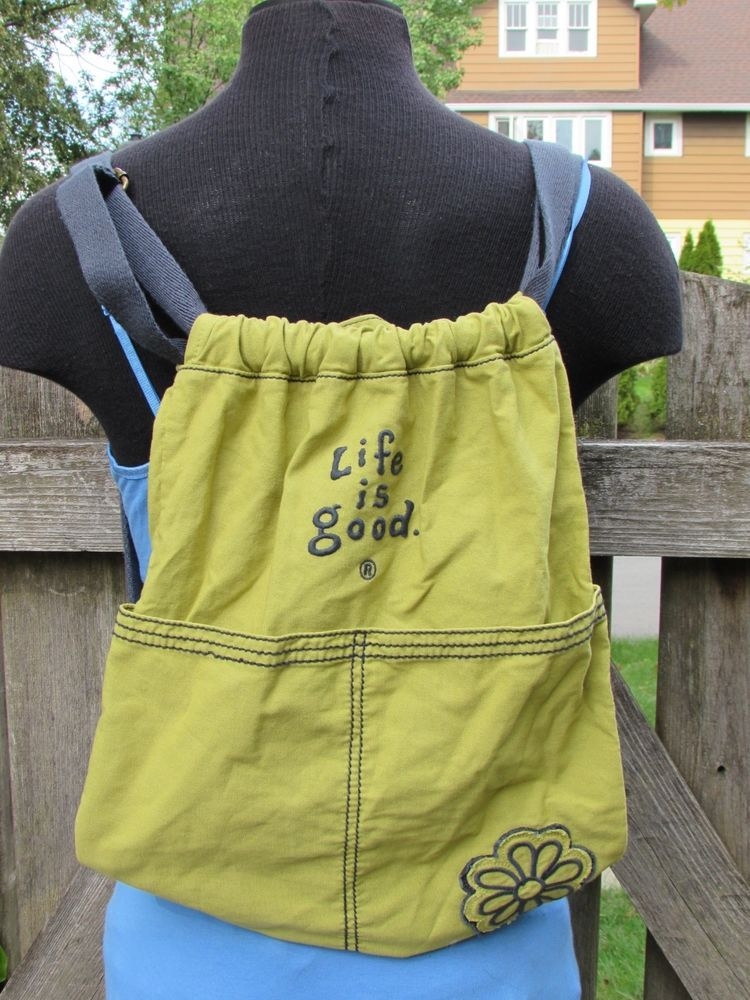 01d9f1cfa7a2 Life is Good Essential Daisy Cinch Sack Sling Backpack Backsack Purse Tote  Green  LifeisGood  TotesShoppers