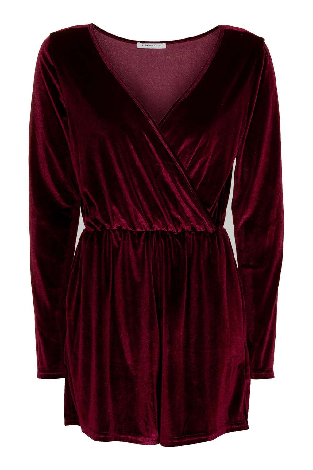 **Velvet Wrap Front Playsuit by Glamorous Tall - Tall - Clothing - Topshop Europe