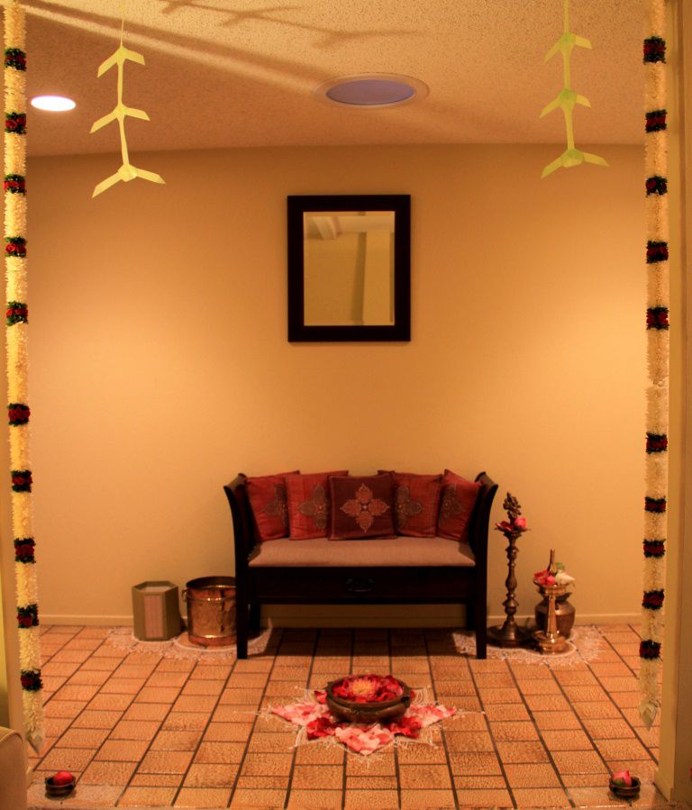 Entrance Foyer Framed In Flowers And Torans For Diwali And