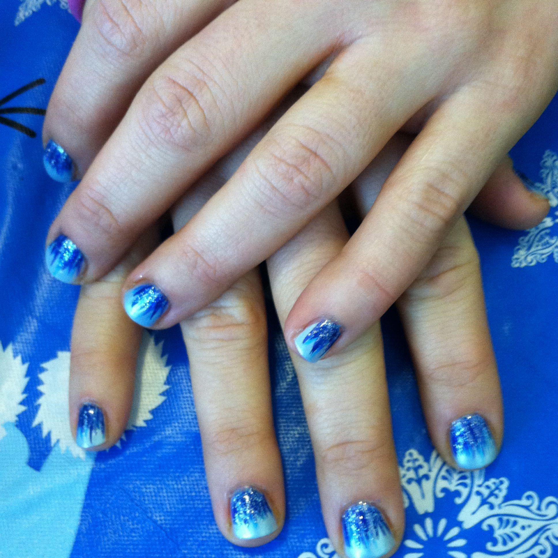 Frozen blue nail design | My Own Nail Art | Pinterest | Blue nails