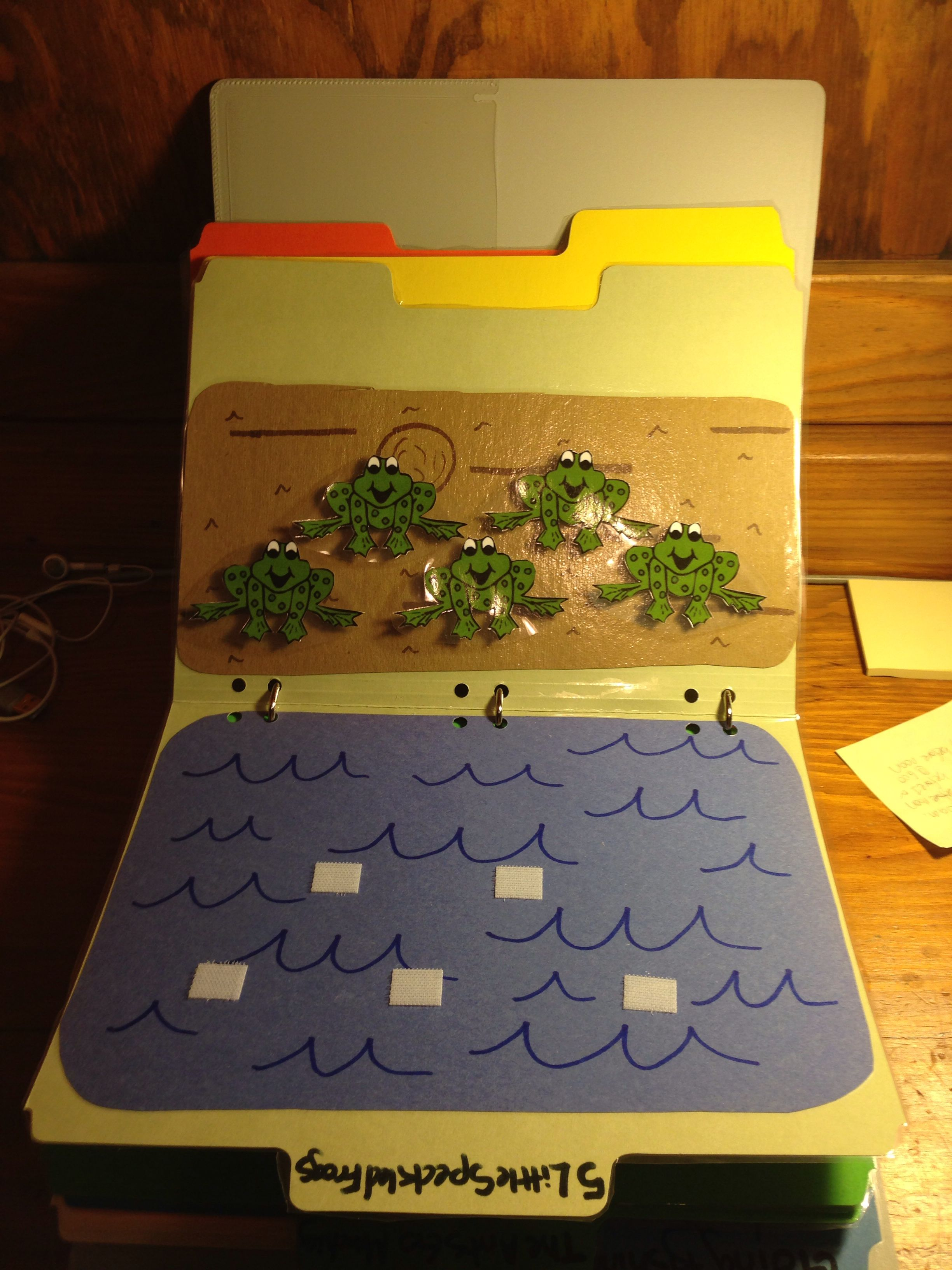 Five Speckled Frogs File Folder Game Can Work On Addition