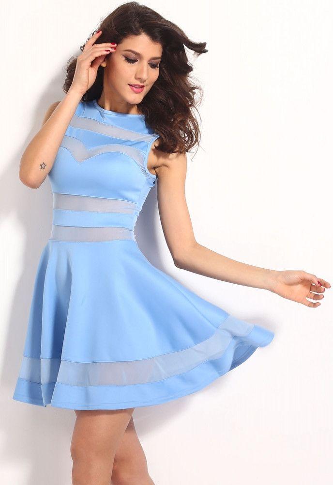 5833b90b98 Light Blue Mesh Panel Club Skater Dress