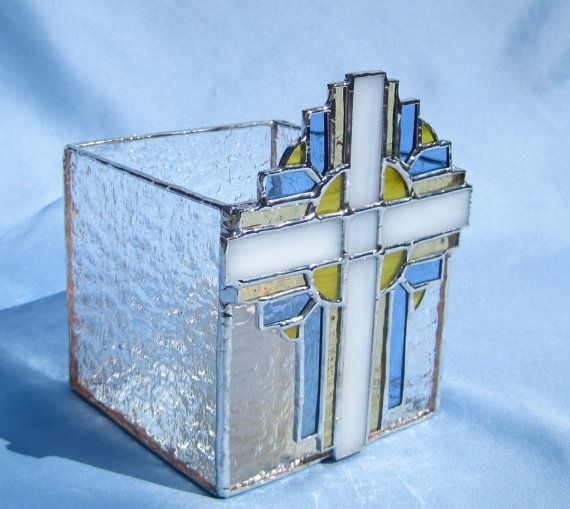 b81d539bc6f7b Easter Morning Cross Stained Glass Spring Candle от hobbymakers ...