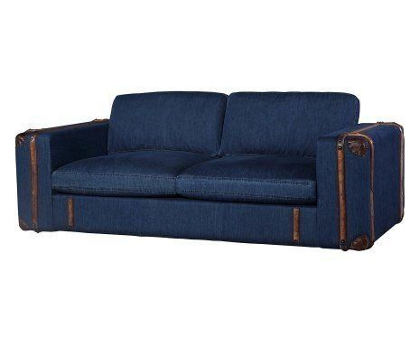 KasperWohndesign Sofa 2 Armlehnen Stoff light blue versch