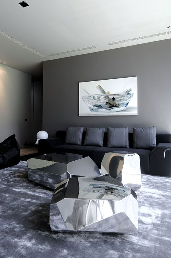 Concrete Residence In Spain / #grey #livingroom #homedecor #gris #salon #