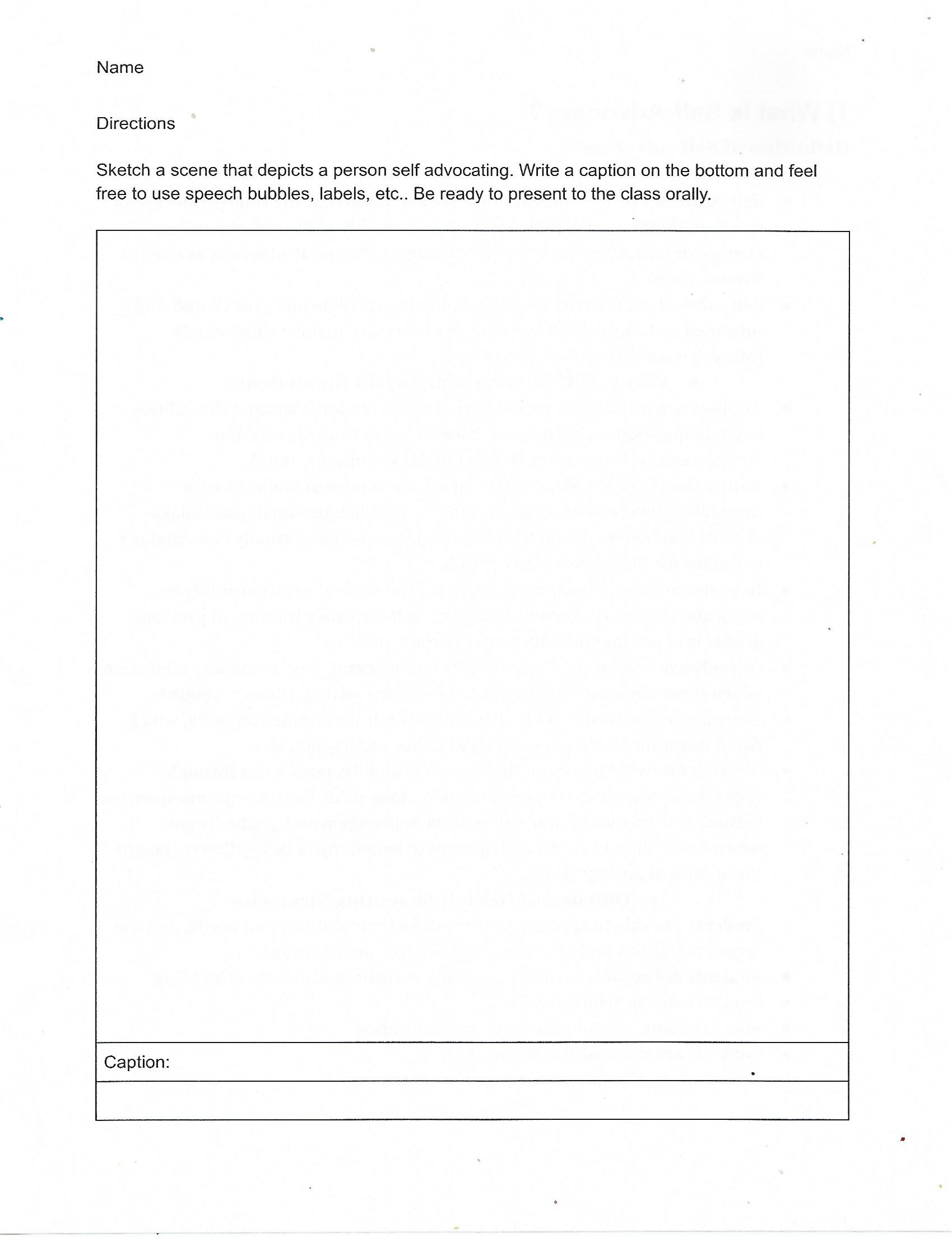 Self Advocacy Worksheet
