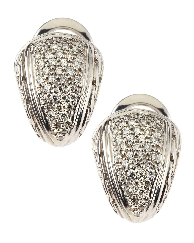 John Hardy Silver Small Diamond Pave Shrimp Earrings DL2r28D