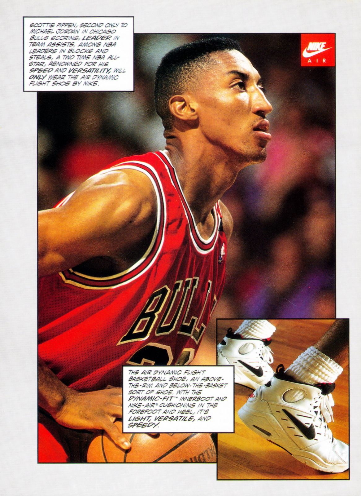 35b32e4234c4 Vintage ad of Scottie Pippen in Nike s Air Dynamic Flight