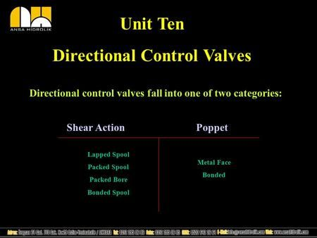 Unit Ten Directional Control Valves Directional control valves fall into one of two categories: Shear Action Poppet Lapped Spool Packed Spool Packed Bore.
