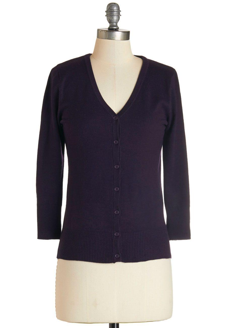 Charter School Cardigan in Blackberry - Knit, Purple, Solid ...