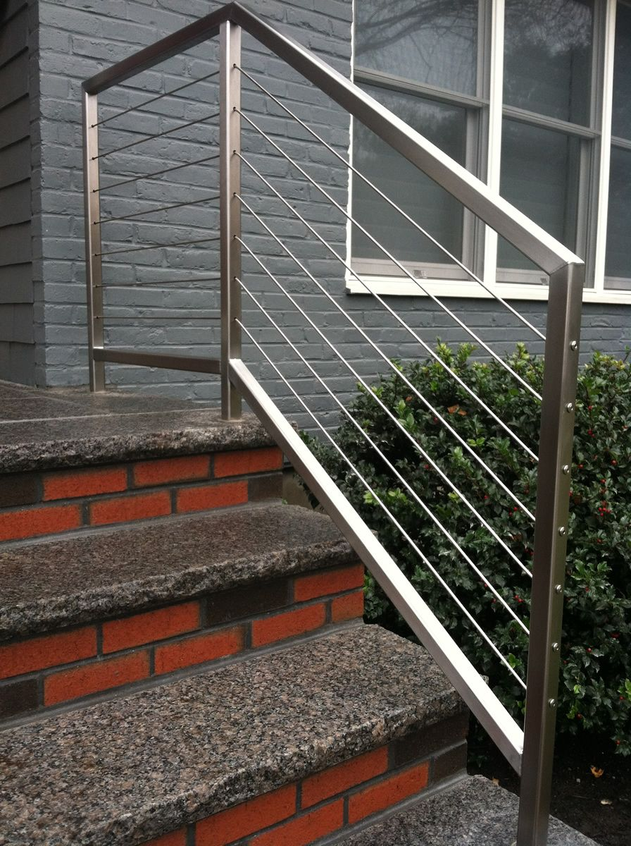 Stainless Steel Cable Stair Rails Exterior Stair Railing | Exterior Stainless Steel Handrail | Adjustable Exterior Metal | Modular Steel | Porch | Steel Usa | Wall Mounted