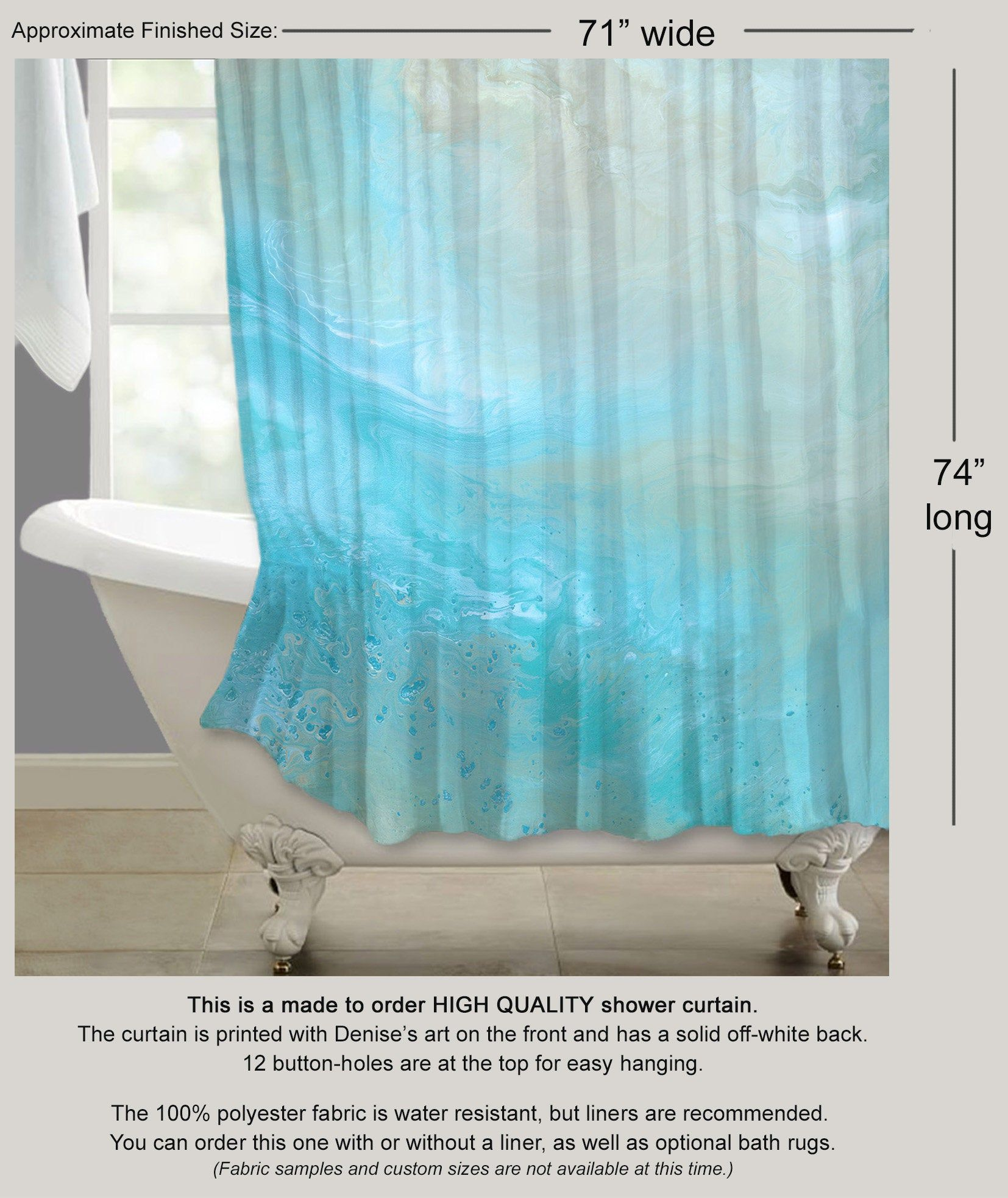 Blue Fabric Shower Curtain Aqua Beige Seafoam Green Master