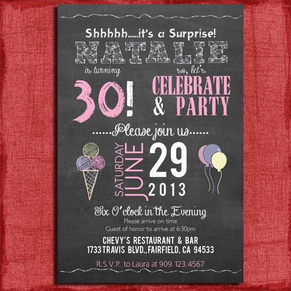 Surprise 21st 30th 40th 50th Chalkboard Style Birthday – 30th Birthday Invitations Templates Free Printable