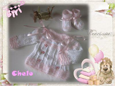 conjunto bebé blanco/rosa
