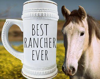 FUNNY RANCHER GIFT For Farmer Gift Cowboy Rancher Beer Mug Cow Breeder Stein Dad Birthday I Love It