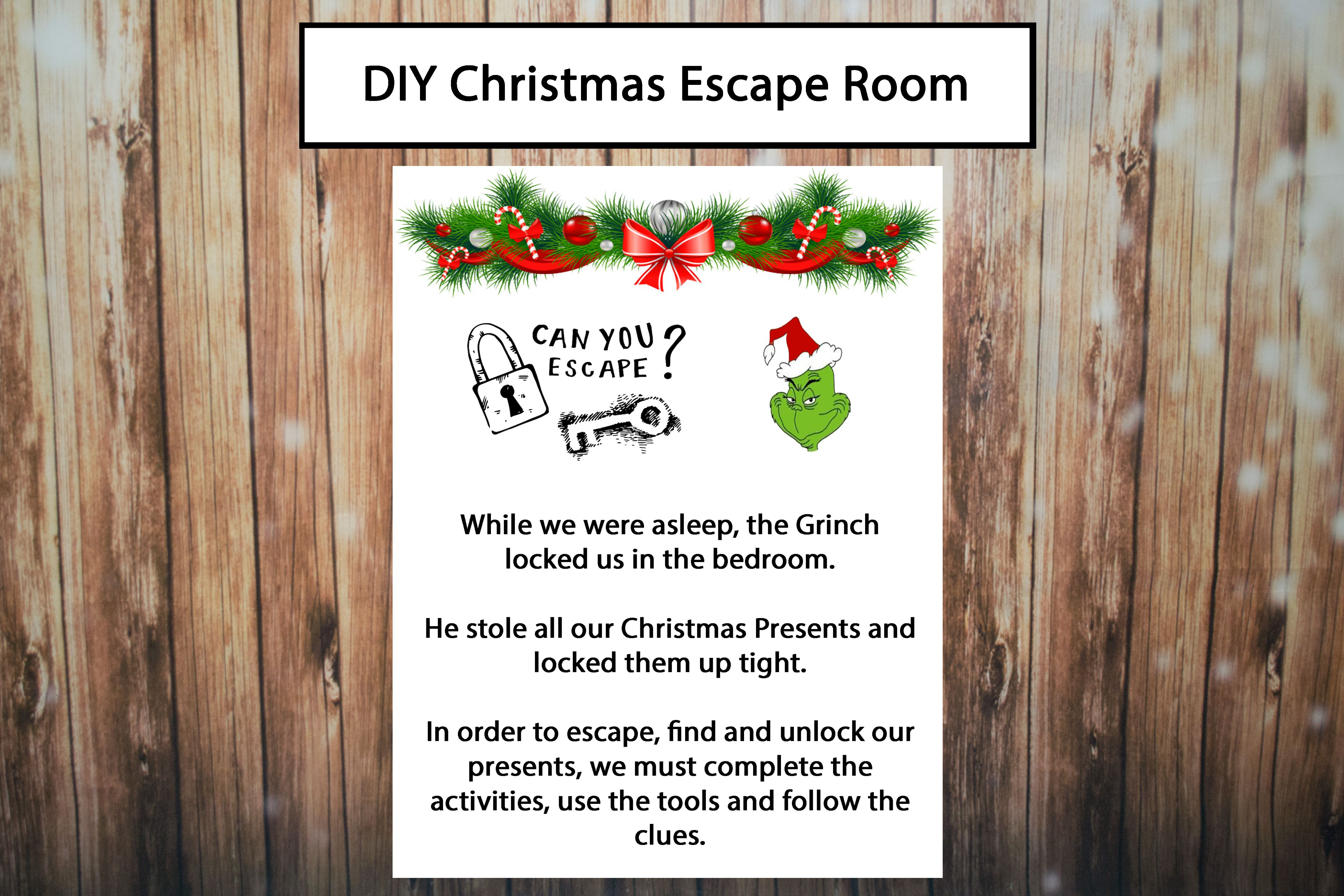 Christmas Escape Room, DIY Escape Room, Kids Party Escape