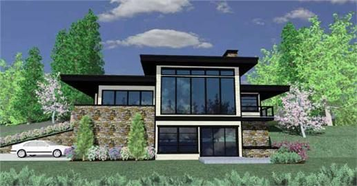 This is the front elevation for these Prairie House Plans Floors