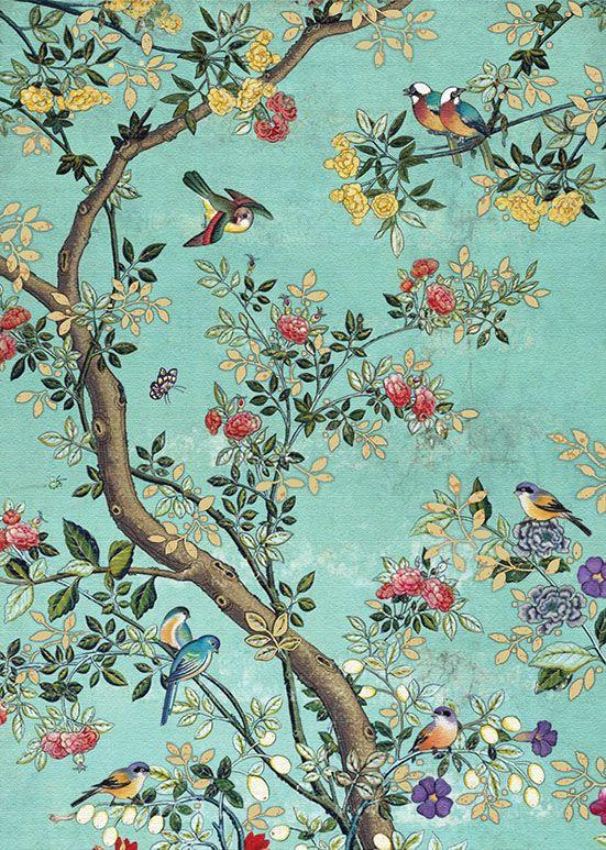 E025 Blue Panel Bug art, Chinoiserie wallpaper, Antique
