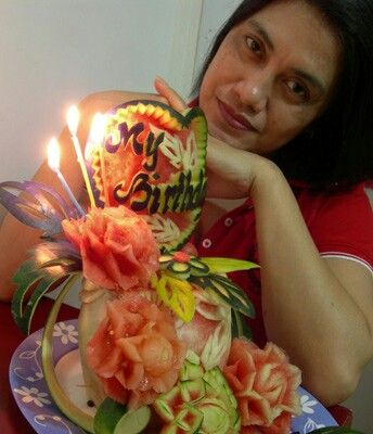 Birthday watermelon cake