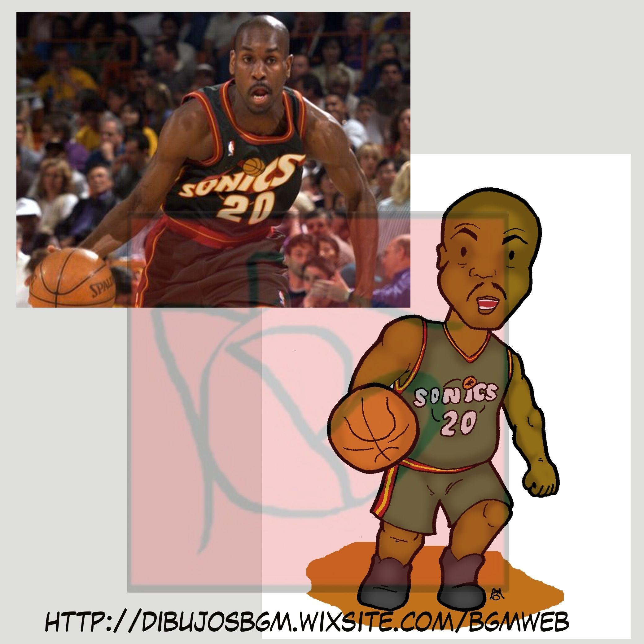 Gary Payton NBA Baloncesto Basketball Sonics | 00 Dibujos y ...