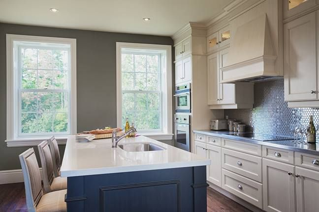 Blue Island And White Cabinets Benjamin Moore Ballet White Oc 9