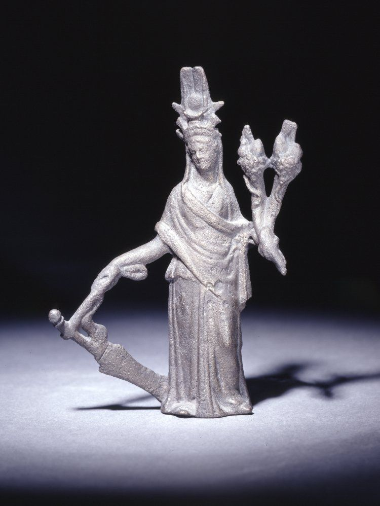 Isis-Tyche  Cyprus, 2nd century AD  The British Museum. Bronze figure of Isis-Tyche. Tyche wears attributes of the Egyptian deity Isis. She carries horns of plenty and a steering-oar.