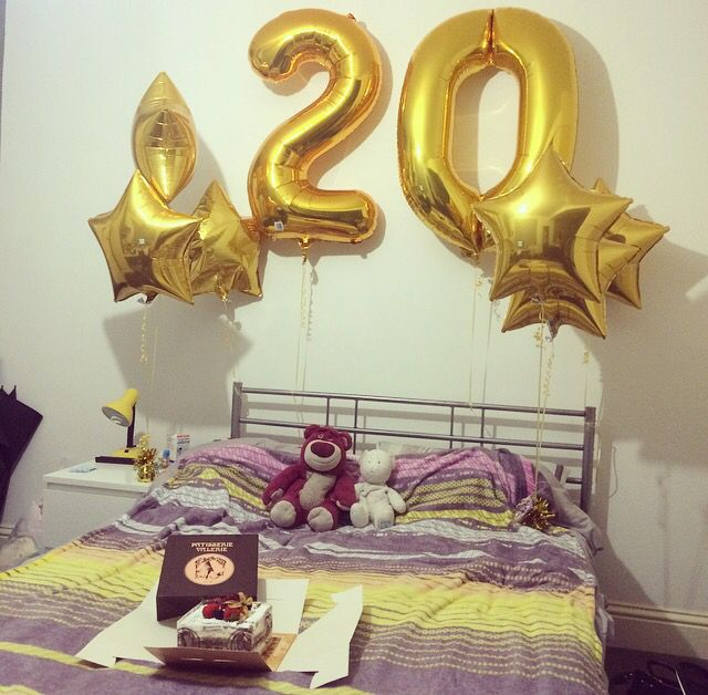 My boyfriends 20th birthday With big numbers balloons and stars 3