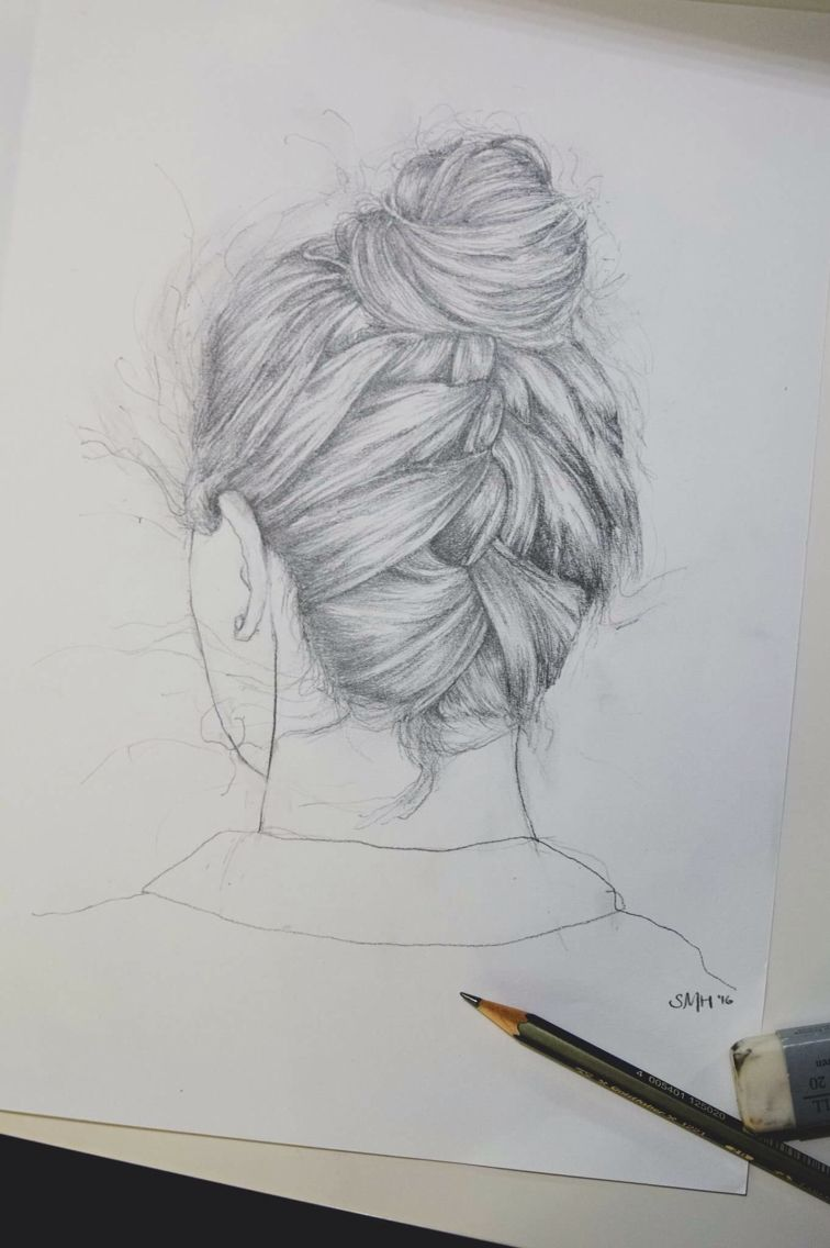 Back Of Head Braided Hair Drawing Pencil On Paper 2016 Sallymay Hopper How To Draw Braids Head Braid How To Draw Hair
