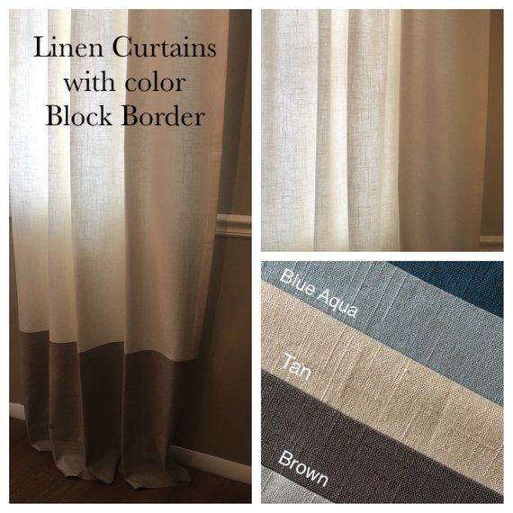 Linen Curtain Panel W/ Color Block Bottom Border