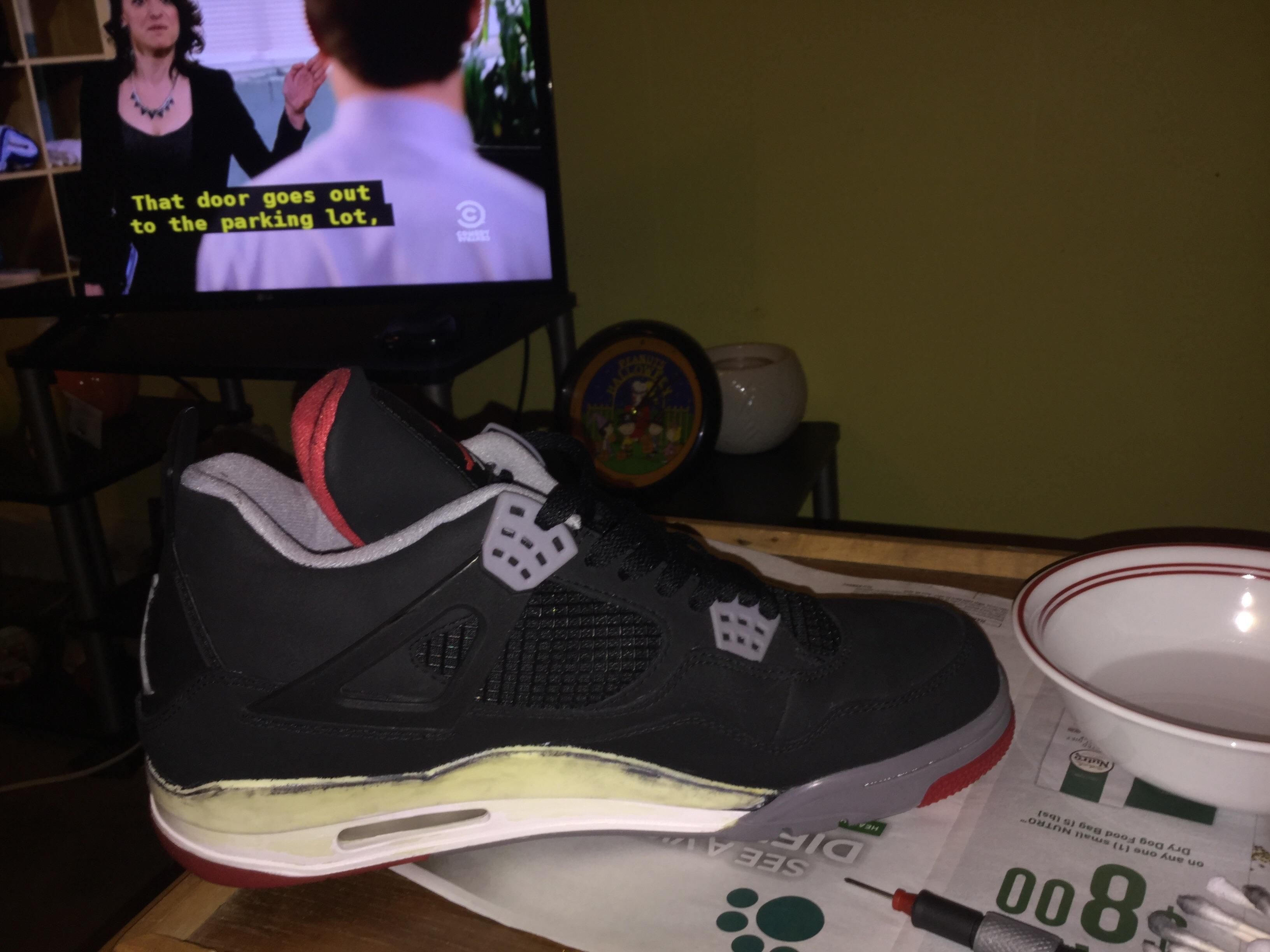 Bred 4 restoration: Paint stripped. Ready to repaint midsole.