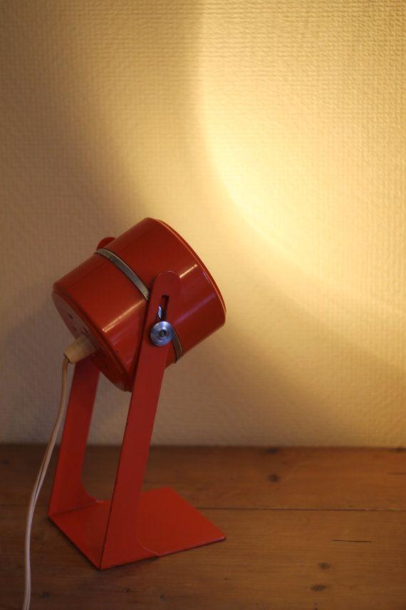 Space Age Desk Lamp Vintage Table Lamp Mid Century Light Orange 1960s Retro Objet Deco Lamp Deco