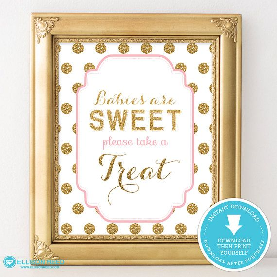 Pink And Gold Baby Shower Food Sign Sweet Treat Table Sign Gold