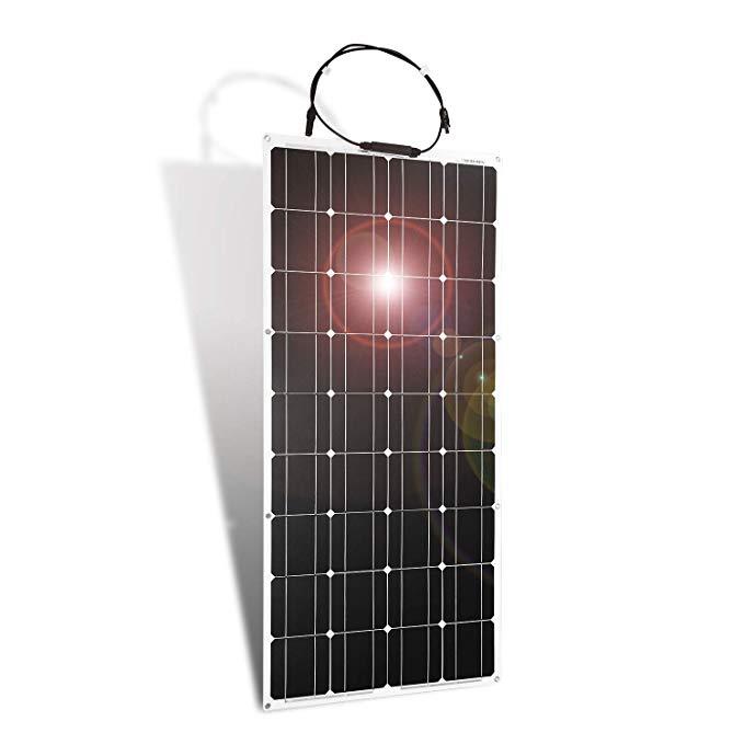 Amazon Com Dokio Solar Panel 100w 12v Bendable Semi Flexible Thin Film Monocrystalline Lightweight For Caravan Rv Boat Camper An Solar Panels Thin Film Solar