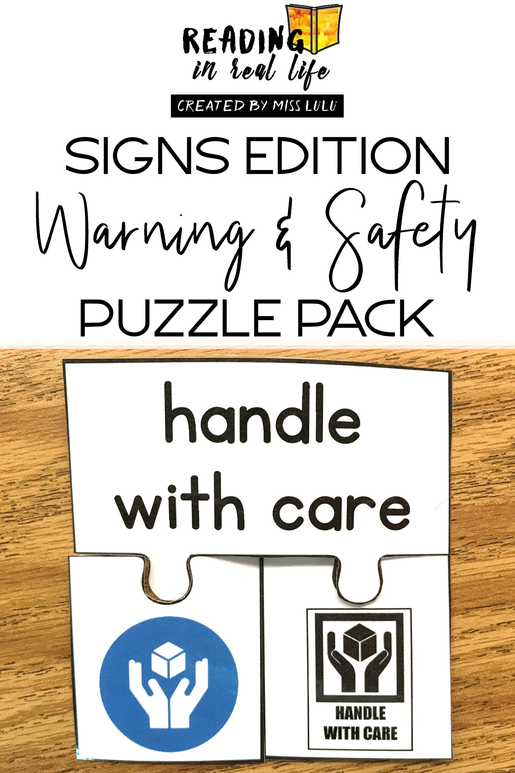 Warning & Safety Sign Puzzles Special education teacher
