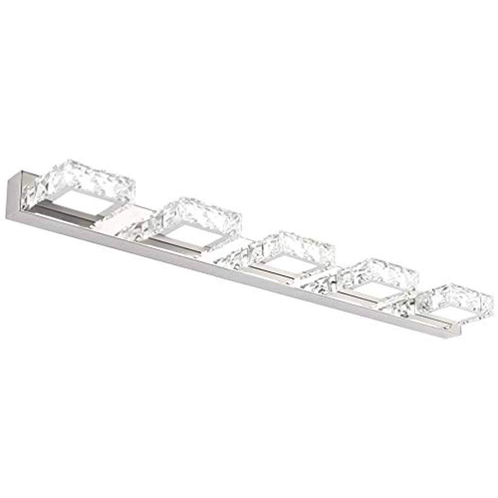 Klighten Led Spiegelleuchte Badezimmer Spiegelleuchte 15w 80cm Modern Kristall Mit 5 Lights Quadrat Fur Badezimmer Wandleuchter In 2020 Led Wandleuchte Ankleidezimmer