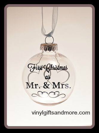 Floating Ornaments - First Christmas as Mr. & Mrs. Hearts - Vinyl ...
