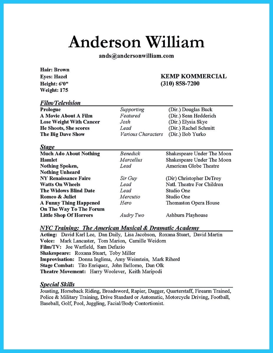 Nice Impressive Actor Resume Sample To Make, Check More At Http://snefci  How To Make A Acting Resume