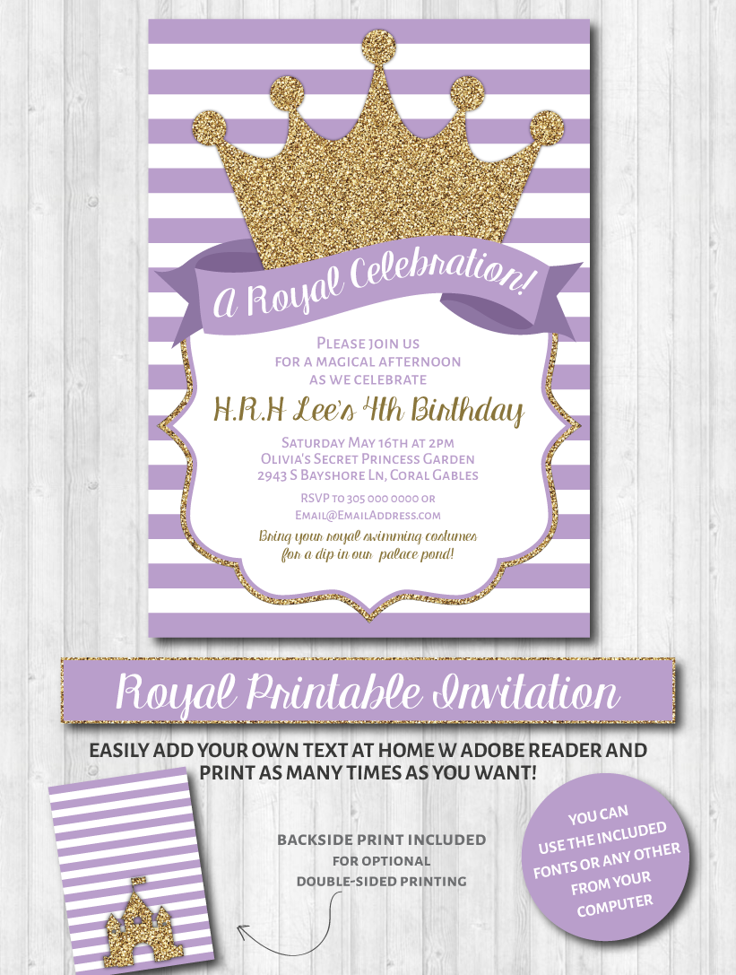 Princess Party Invitations: Purple & Gold Glitter   Royal party ...